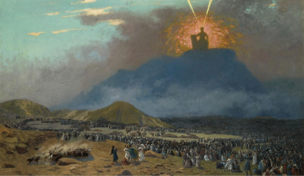 A 19th century CE oil painting by Jean-Léon Gérôme depicting Moses receiving the Ten Commandments from God on Mt. Sinai