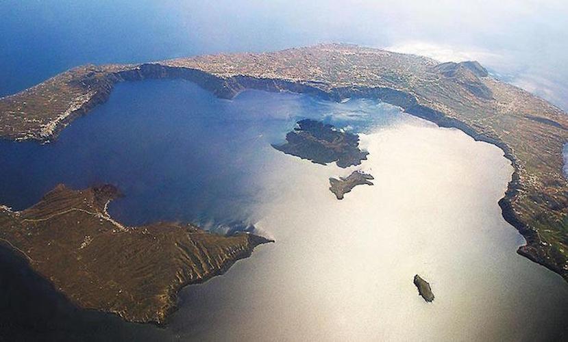 aerial photo of Santorini Caldera