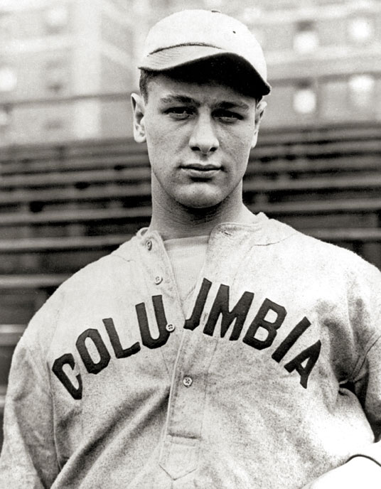 photo of Lou Gehrig in Columbia uniform, 1921 (Wikipedia - public domain)