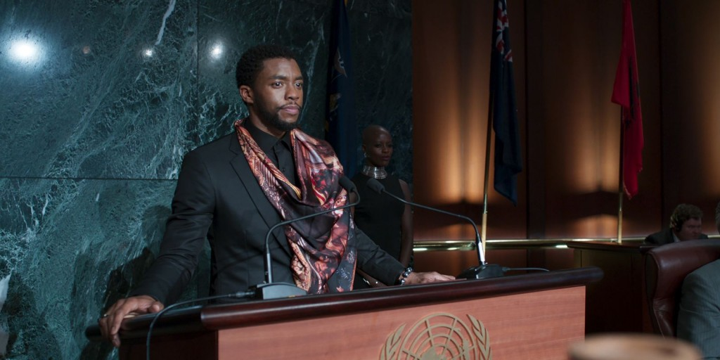 """Still image from movie """"Black Panther"""" King T'Challa addressing the U.N."""
