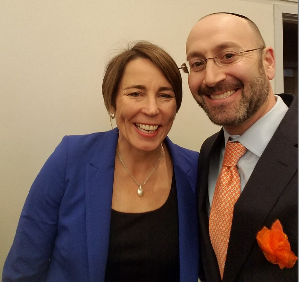 photo of Attorney General of Massachusetts Maura Healey and Rabbi David Lerner of Temple Emunah in Lexington