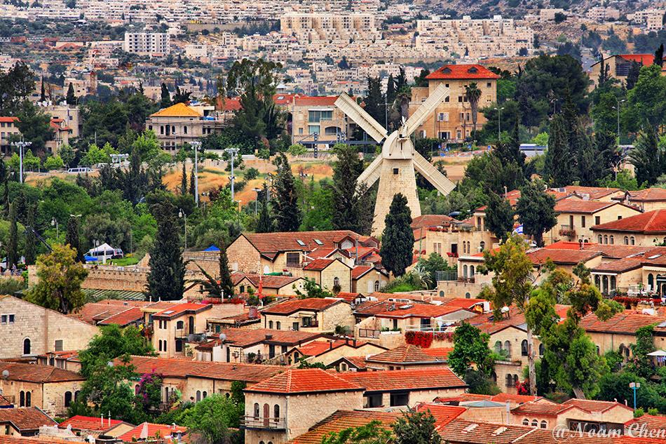 houses and windmill of yemin moshe neighborhood in jerusalem, israel