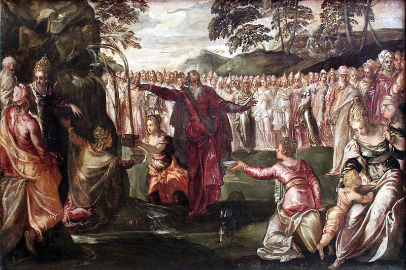 painting by Tintoretto - Moses Striking the Rock (1563)