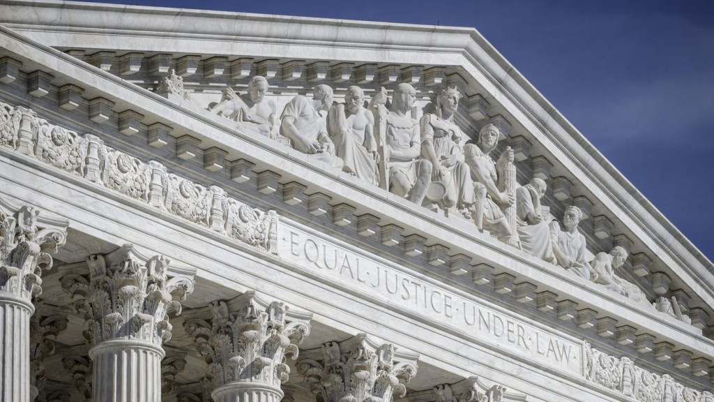 The west pediment of the U.S. Supreme Court building in Washington. (From LA Times 6-27-16 by J. Scott Applewhite/Associated Press)