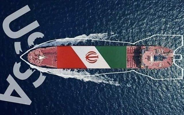 یک نمای گرافیکی حزب الله نشان می دهد نفتکش ایران با در هم شکستن تحریم های ایالات متحده به سوی لبنان می رود
