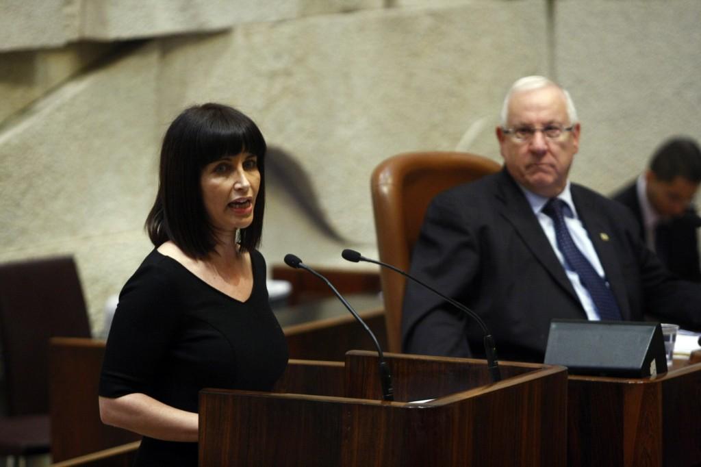 MK Einat Wilf addresses the Knesset plenum (photo credit: Abir Sultan/Flash90)