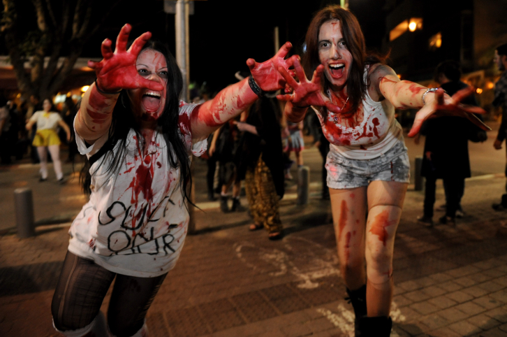 Meanwhile, in Tel Aviv, the zombie apocalypse was commencing. (photo credit: Gili Yaari/Flash 90)