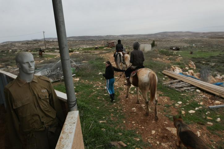 Horseback riding on the hilltop settlement of Migron (Photo credit: Kobi Gideon/ Flash 90)