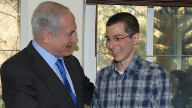 Prime Minister Benjamin Netanyahu with Gilad Shalit in Tel Aviv last week (photo credit: Moshe Milner/GPO/Flash90)