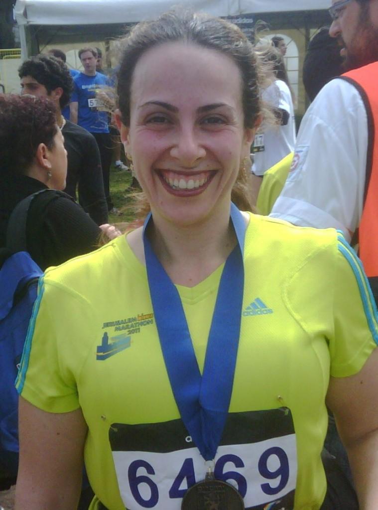 Devora Mason. Nothing says 'frizzball' like the Jerusalem Marathon.