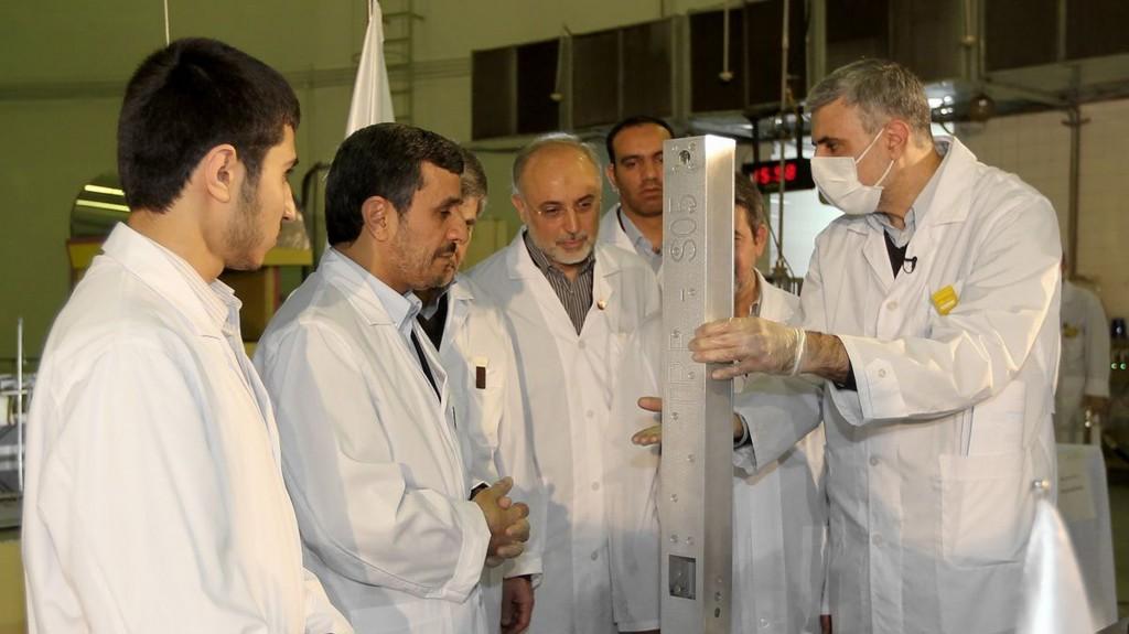 Iranian President Mahmoud Ahmadinejad visits a nuclear research facility in Tehran (photo credit: AP/Iranian President's Office)