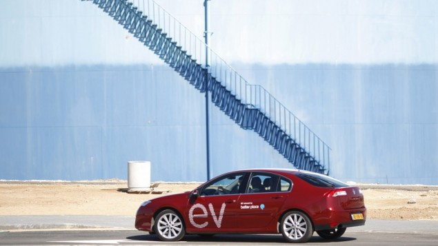 "A ""Better Place"" electric car outside the company's sales center in Tel Aviv (photo credit: AP/Ariel Schalit)"