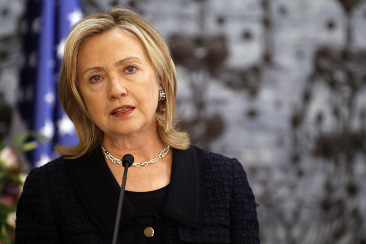 US Secretary of State Hillary Clinton during a visit to Jerusalem in 2010 (photo credit: Miriam Alster/Flash90)