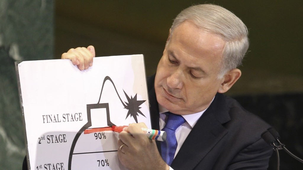 Churchillian. Prime Minister Benjamin Netanyahu draws a red line for Iran's nuclear program during his address to the UN General Assembly (photo credit: AP/Seth Wenig)