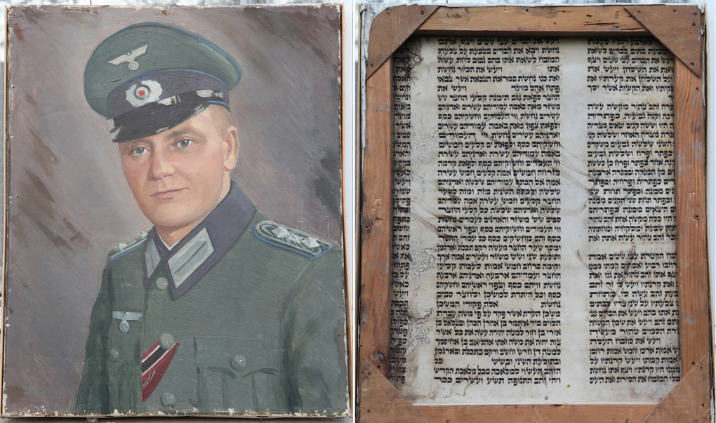 The painting of Alfred Mayer. On the right  is a view of the back of the painting -- a section of Torah scroll. Click to view full size. (photo credit: courtesy)