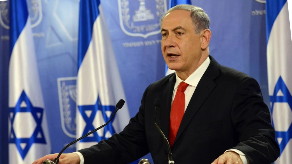 Prime Minister Benjamin Netanyahu speaks to the press during Operation Protective Edge