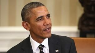 US President Barack Obama, March 19, 2015 (photo credit: AFP/Chris Jackson/Getty Images North America)