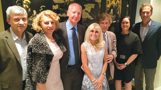 From left to right, Dr. Leonid and Helen Kogan, Dr. Assi Drobot, Susan and Dr. Deane Penn, Dr. Sharon Scherl, and Dr. Tzvi Small