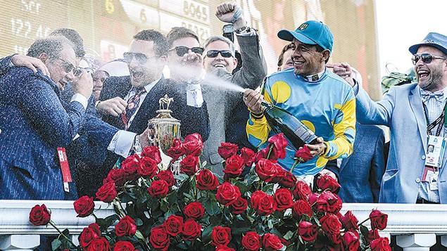 Joy, champagne spray, shocked disbelief, and a blanket of roses greet Kentucky Derby winners.