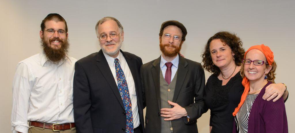 The first rabbinic cohort of the Har'el Beit Midrash. From left: Rabbis Ariel Mayse, Har'el founder and head Herzl Hefter, Eliezer Lev Israel, Rahel Berkovits, and Meesh Hammer-Kossoy. (Sigal Krimolovski)