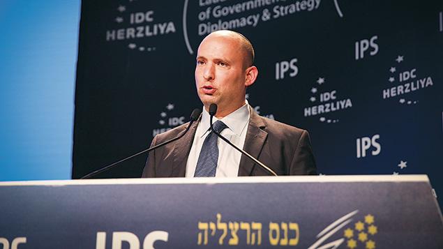Israeli Minister of Education Naftali Bennet speaks at the Herzliya Conference on June 7.