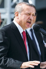 Turkish President Recep Tayyip Erdogan speaks during the Turkish International Ceremony at Mehmetcik Abidesi Martyrs Memorial in April.