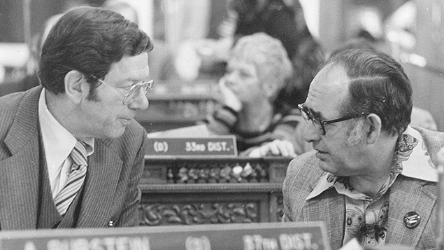 Mr. Burstein with a legislative aide, Stan Grossman, at the New Jersey State Assembly.