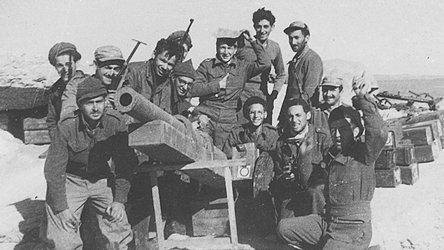 Tom Tugend, fourth from left, and fellow foreign volunteers as they looked during Israel's War of Independence.