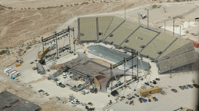 An aerial view of the gigantic stage and bleachers for the opera festival.