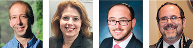 Joshua Holden, left, Christine O'Donnell, Rabbi Jacob Lieberman, and Rabbi David Fine