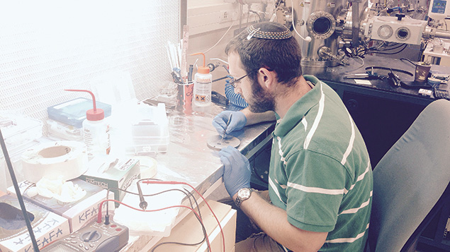 Chaim Metzger of Teaneck is creating and testing samples of paramagnetic materials.