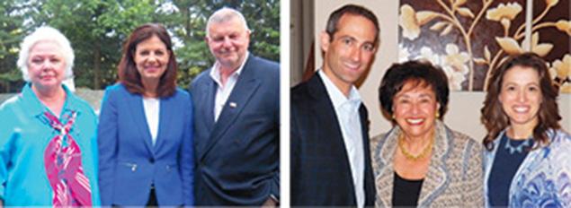 Left, Linda Benaroya, left, with Senator Kelly Ayotte (R-N.H.) and Raphael Benaroya. Keren Neugroschl Right, Ezra Lightman, left, with Rep. Nita Lowey (D-N.Y.), and Miriam Lightman. Avi Schranz