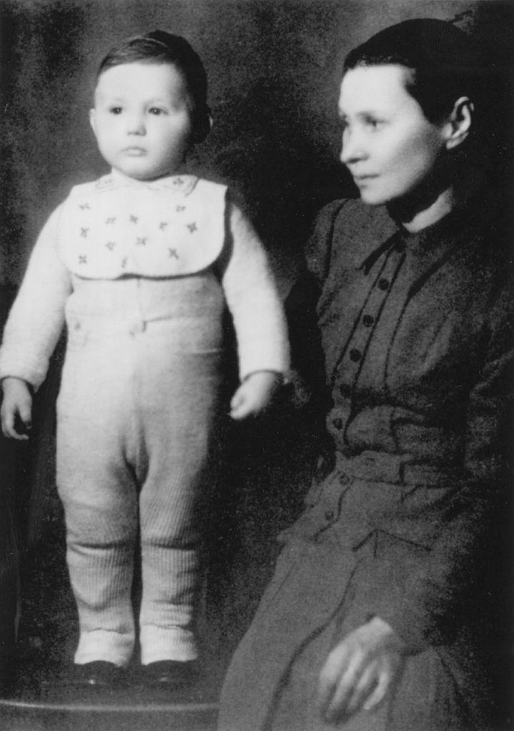 Young Mr. Fuksman with his nanny, Bronislawa Kurpi.