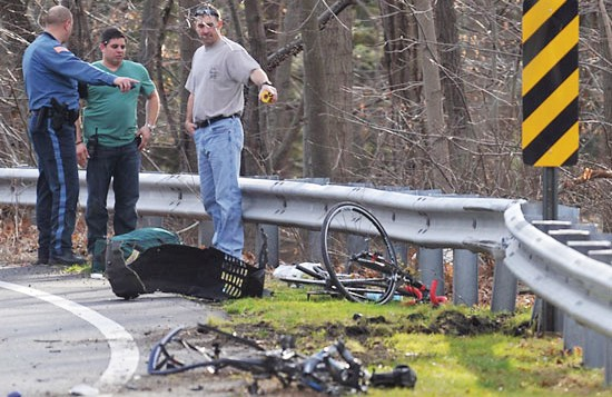 Driver Darshana Gandhi hit Ron Gold and Zach Orden; here, their mangled bikes show the intensity of the crash. Ms. Gandhi has never acknowledged any regret for the accident.