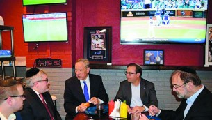 George Pataki at The Doghouse, a kosher restaurant in Teaneck