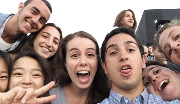 Fun at summer film school. Zev Rand, in plaid shirt, with interns Gil Eliav (Jerusalem), Rita Zhang (China), Judy Kim (California), Zoey Peck (Long Island), Daria Cavlina (Croatia), Jamie Blenden (West Orange), and Yael Lior (Boston). (Photo courtesy of Zev Rand)