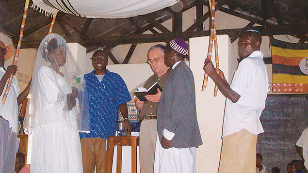 Rabbi Prouser performs a wedding during a trip to Uganda.