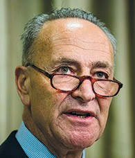 Sen. Charles Schumer speaks at New York University on Tuesday. (Andrew Burton/Getty Images)