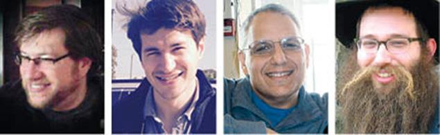 Baruch November, left, Elie Lichtschein, David Silverman, and Yehoshua November