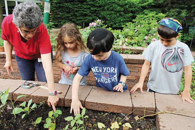 Ms. Bejar, who also teaches at the school, talks about garden with Taya Schwartzbard, Eli Nanus, and David Asulin.