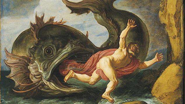 "Pieter Lastman, ""Jonah and the Whale,"" 1621, oil on oak, at the Museum Kunstpalast in Düsseldorf, Germany. (Wikipedia)"