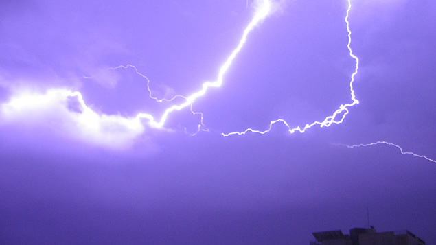 Hi, Barak — lightning snakes across the sky near Tel Aviv. (Ron Almog via Flickr)
