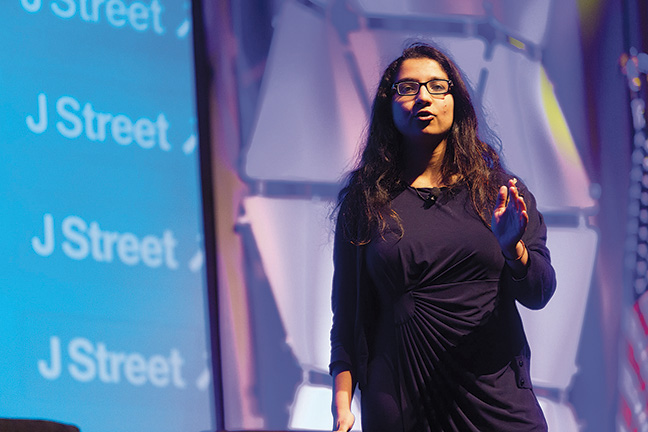 Amna Farooqi speaks at J Street's national conference. (Courtesy of J Street)