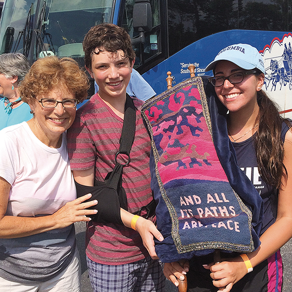 Rabbi Elyse Frishman of Barnert Temple was accompanied by four synagogue members. Here, she stands with Isaac Hart and Anya Gips.