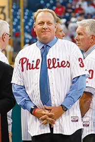 Curt Schilling was inducted into the Phillies Wall of Fame at Citizens Bank Park in Philadelphia on August 2, 2013. (Hunter Martin/Getty Images)