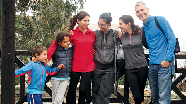 Joel Chasnoff and his family during their travels in South America.