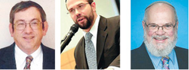 Daniel Chazin, left, Rabbi Larry Rothwachs, and Rabbi Benjamin Yablok