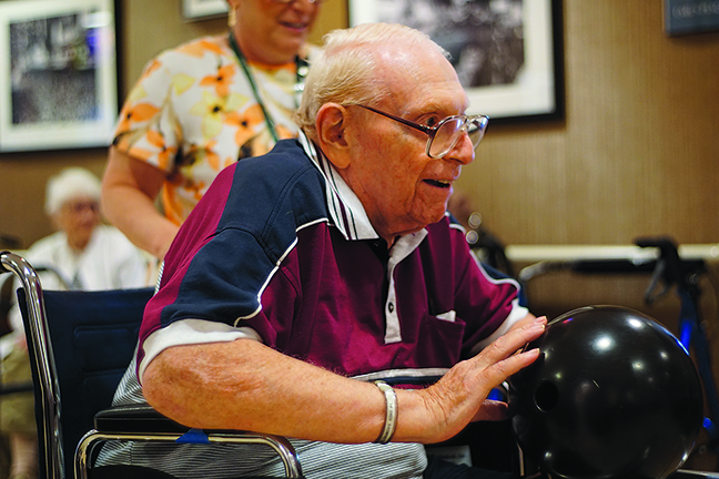 Jewish Home at Rockleigh resident Irwin Brownstein takes part in the annual Jewish Home Olympics. Residents compete against Gallen Adult Medical Day Care program participants and residents of the nearby county-run nursing home.