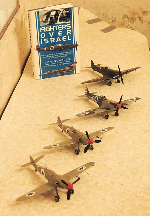 Models of the first four planes in the Israeli Air Force (Larry Yudelson)