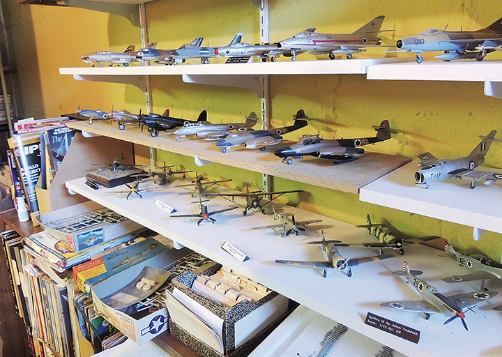 Some of the many model airplanes Dr. Yudelson has built. (Larry Yudelson)